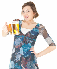 beautiful young woman drinking beer from the mug