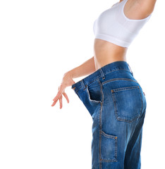 Weight Loss Woman isolated on a white background. Slim Body