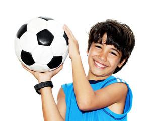 Cute boy playing football