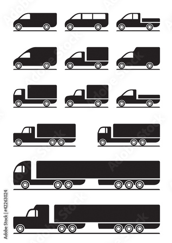 Trucks and pickups - vector illustration