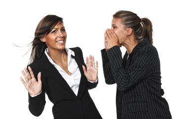 Woman yelling at a colleague