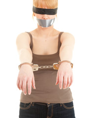 handcuffed kidnapped young woman, hostage