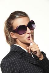 beautiful girl portrait with sunglasses, silence
