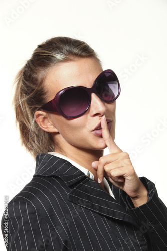 beautiful girl portrait with sunglasses, silence
