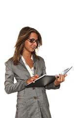 portrait of secretary on white background