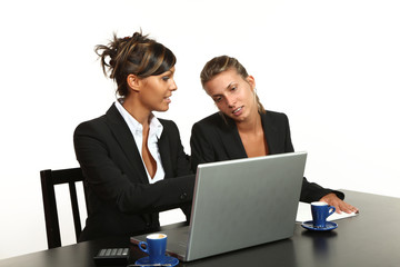 Young business people meeting, two women