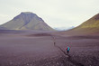 Laugavegur hiking trek crossing an ash field, Iceland