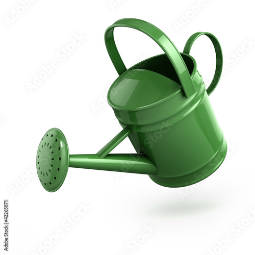 3d Green metal watering can pouring