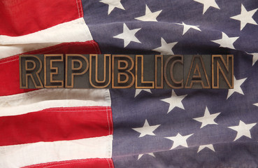 American flag with Republican word