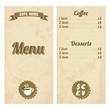 Cafe menu design with treasure map. Vector illustration.
