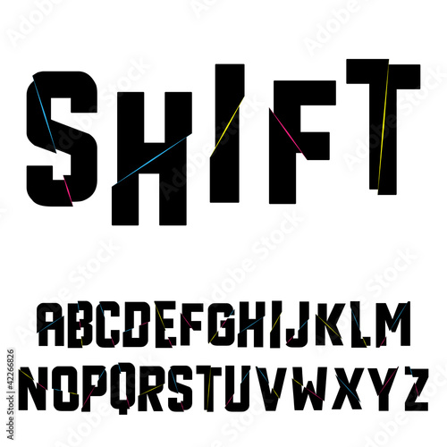 Abstract shift alphabet. Vector illustration.