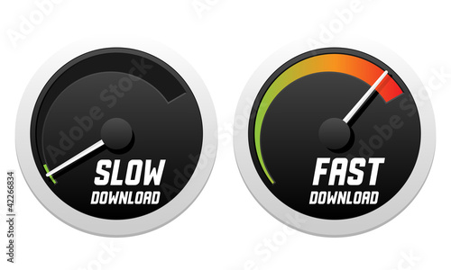 Speedometers with slow and fast download. Vector illustration.