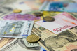 Euro and dollar banknotes and coins