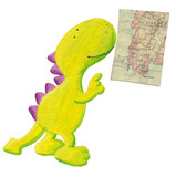 Cute dragon studying old geography map poster