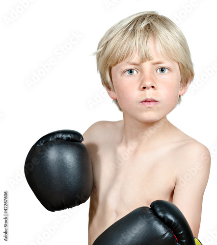 blond boy boxing