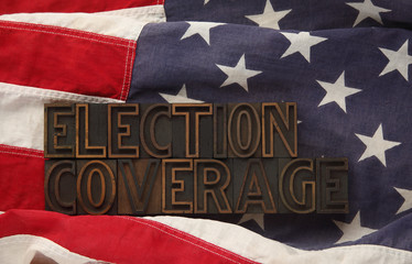 American flag with the words election coverage