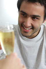 Man drinking champagne