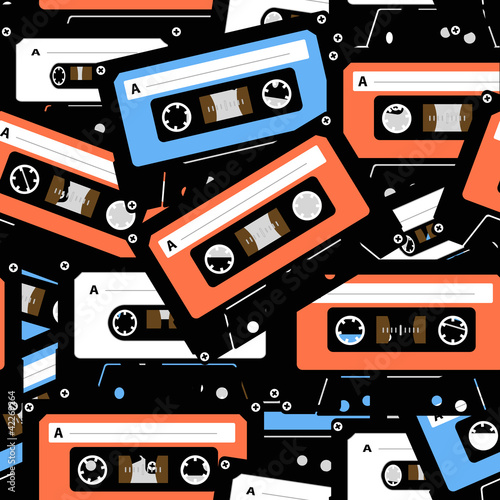 Tuinposter Kunstmatig Vintage analogue music recordable cassettes. seamless background