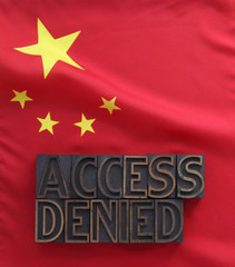 Chinese flag with access denied words
