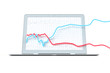Aktien Kurs Diagramm sprengt Laptop Rahmen