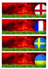 Soccer teams on grass