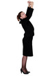 Businesswoman reaching upwards