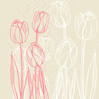 Abstract floral illustration with tulips on beige background.