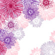 Floral background with hand draun flowers. Vector illustration.