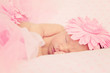 Adorable sleeping newborn baby girl