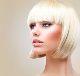 Fototapety Haircut. Beautiful Girl with Healthy Short Blond Hair. Hairstyle