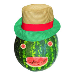 face of  watermellon and hat on the top