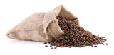 Burlap sack full of coffee beans isolated on white