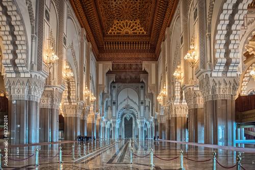 Canvas Marokko Hassan II Mosque interior corridor Casablanca Morocco
