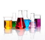 Set of laboratory flasks with a colored reagents, isolated