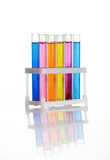 Set of laboratory test tubes with a colored liquids in a rack