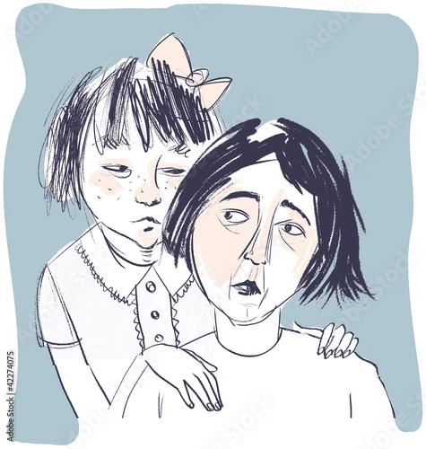 Worried Mother with Daughter Illustration