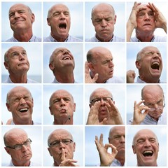 Collage of a man making faces