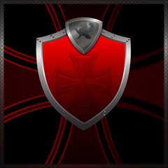 Decorative red shield on a dark background with cross.