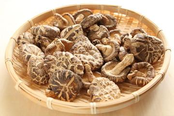 Chinese dried mushroom on bamboo basket