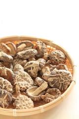 chinese food, dried mushroom in bamboo basket