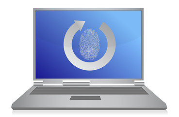 computer fingerprint security illustration design over white