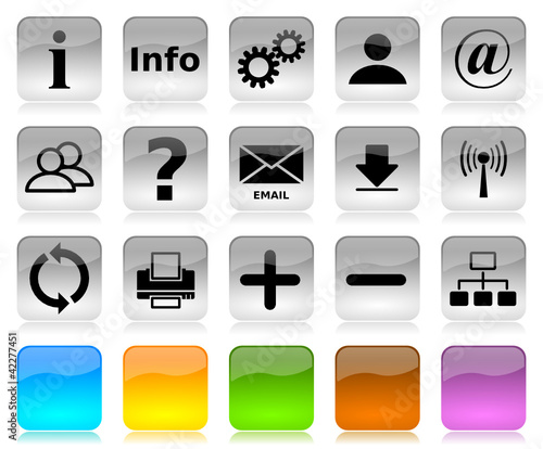 Black on white internet icons series