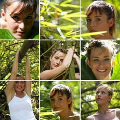 women poses in a bamboo forest