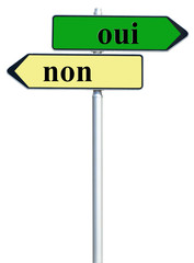 panneau oui / non