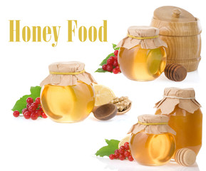 jar of honey and fruit isolated on white