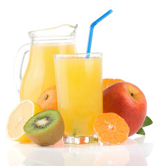 fresh fruits juice in glass and slices on white