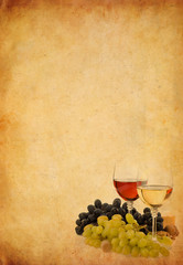 wine in glass and grape on old paper background