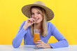 woman drinking fresh juice with a straw