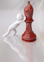 3D Man Pushing the Red Chess Bishop Figure