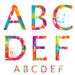 Font - Colorful letters with drops and splashes from A to F.
